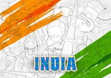 Tricolor sztandar z indianin flaga dla 26th Stycznia republiki Szczęśliwego dnia India Zdjęcia Stock