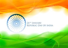 Tricolor sztandar z indianin flaga dla 26th Stycznia republiki Szczęśliwego dnia India Zdjęcia Royalty Free