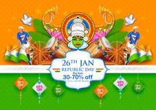 Tricolor sztandar z indianin flaga dla 26th Stycznia republiki Szczęśliwego dnia India Obraz Royalty Free