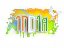 Tricolor text för indisk självständighetsdagen Royaltyfria Bilder