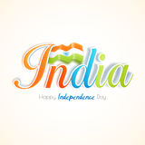 Tricolor Text for Indian Independence Day. Royalty Free Stock Photo
