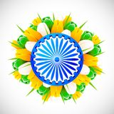 Tricolor Tulip with Ashok Wheel Stock Photo
