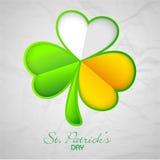 Tricolor växt av släktet Trifoliumblad för Sts Patrick dagberöm Arkivbild