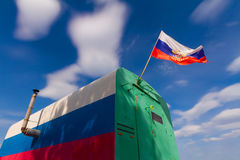 Tricolor vagon με τη ρωσική σημαία Στοκ εικόνα με δικαίωμα ελεύθερης χρήσης