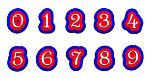 Tricolor volume numbers on a white background  vector illustration Royalty Free Stock Photos