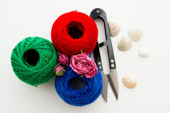 Tricolor of yarn skeins Stock Photography