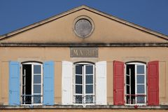 Tricolore city hall in France Royalty Free Stock Photos