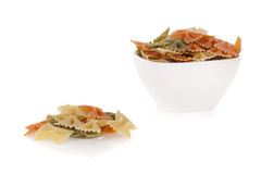 Tricolore farfalle pasta in a bowl Royalty Free Stock Images