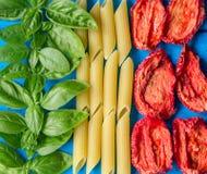 Tricolore, gemacht von den traditionellen italienischen Bestandteilen lizenzfreie stockfotos