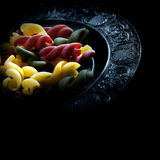 Tricolore Pasta. Creatively lit Italian tricolore pasta on a pewter plate against black. Concept image for vegetarian food. Copy space Royalty Free Stock Photos
