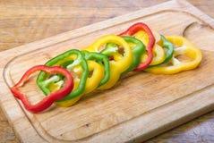 Tricolored胡椒切片 图库摄影