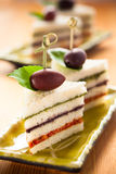 Tricolored sandwich stacks Royalty Free Stock Photos