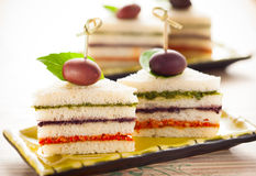 Tricolored sandwich stacks Stock Photos