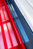 Tricolorgordijn met rood, blauw en wit Stock Fotografie