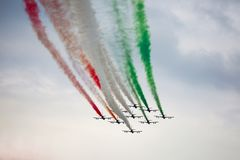 Tricolori Frecce στα Grand Prix 2018 Monza F1 στοκ φωτογραφία με δικαίωμα ελεύθερης χρήσης
