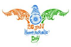 Tricolorvogel voor de Indische Dag van de Republiek Royalty-vrije Stock Foto