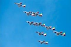 Tricolour Pijlen van Freccetricolori in Pisa Airshow, Italiaanse Nationale Acrobatische PAN Stock Fotografie