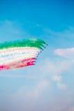 Tricolour Pijlen van Freccetricolori in Pisa Airshow, Italiaanse Nationale Acrobatische PAN Stock Foto