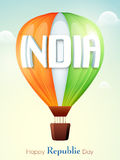 Tricolours hot air balloon for Indian Republic Day. Royalty Free Stock Photo