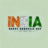 Tricolours text India for Republic Day. Stock Photos