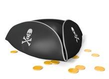 Tricorn καπέλο πειρατών με το κρανίο και τα κόκκαλα, που κάθονται στο χρυσό θησαυρό Στοκ εικόνα με δικαίωμα ελεύθερης χρήσης