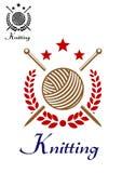 Tricotage à la main de l'emblème illustration de vecteur