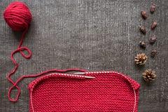 Tricotage, cônes et hanches teintes sur le fond noir Photos stock