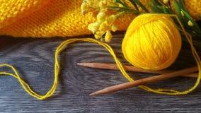 Tricotage jaune Photo libre de droits