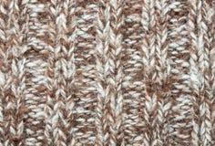 Tricotage vertical ou modèle tricoté Backgr de Brown de texture de tissu Image libre de droits