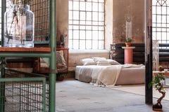 Tricotez la couverture et les coussins sur le lit dans l'intérieur japonais de chambre à coucher avec la fenêtre et les bonsaïs images libres de droits