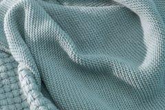Tricotez la texture du tissu tricoté par laine bleu de couleur verte avec le modèle Place pour le texte Photo stock