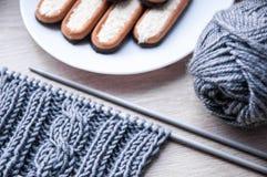 Tricottando con la lana grigia Immagine Stock Libera da Diritti