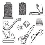 Tricottando, tricottando gli oggetti illustrazione di stock