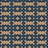 Tricottare modello senza cuciture in beige ed in blu Fotografia Stock