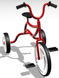 Tricycle bike. Illustration of red children's tricycle bike isolated on white background Stock Image