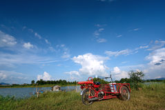 Tricycle with blue sky. royalty free stock photos