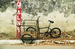 Tricycle chained to a post in Nicaragua Royalty Free Stock Photo