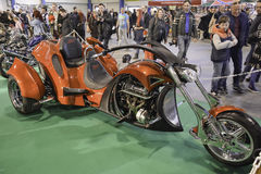 Tricycle Chopper. 11th Car and Motorcycle Tuning Show in Hungexpo, Budapest, Hungary. Photo taken to: March 19th, 2016 Royalty Free Stock Image