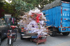 Tricycle full of waste, in Shenzhen, China Stock Images