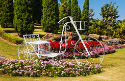 Tricycle in garden design. Royalty Free Stock Images