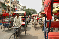 A tricycle rickshaws on the streets Delhi Stock Photos