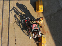 Tricycle Rider in Myanmar Top View Royalty Free Stock Images
