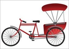 Tricycle rouge d'Asie du Sud-Est avec la couverture de passager illustration stock