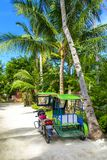 Tricycle in Santa Fe in Bantayan. A tricycle, very popular means of public transport in Philippines, in Santa Fe, Bantayan island Stock Photo