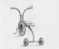 Tricycle - sketch. Tricycle with batterfly. Pencil drawing, sketch Stock Photos