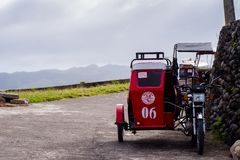 Tricycle transportation service at Batanes, Philippines.  Royalty Free Stock Images