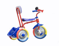 Tricycle on white background. Colour tricycle is insulated on white background Royalty Free Stock Photo
