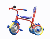Tricycle on white background. Colour tricycle is insulated on white background Stock Photos