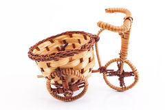 Tricycle wicker isolated on white Royalty Free Stock Images
