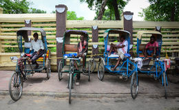 Tricycles on street in Bodhgaya, India Royalty Free Stock Images